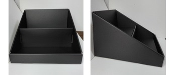 Стелаж за картички, книжки и табелки - черен, картон