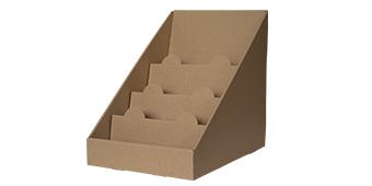 Стелаж за картички, книжки, кутии и табелки - кафяв, картон
