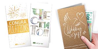 Пликове-картички за пари и ваучери за сватба